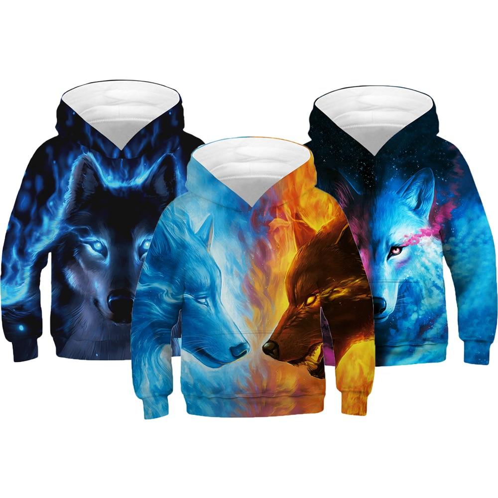 Wolf Tiger 3D Print Boys Hoodies Teens Spring Autumn Outerwear Kids Hooded Sweatshirt Clothes Children Long Sleeve Pullover Tops 1