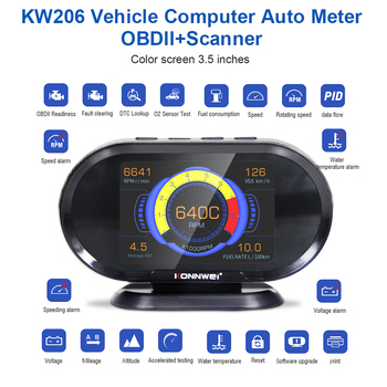 KONNWEI KW206 OBD2 Scanner+HUD 2-in-1 Auto Code Reader OBD II Car Diagnostic Scanner Check Fault Tool Accessories