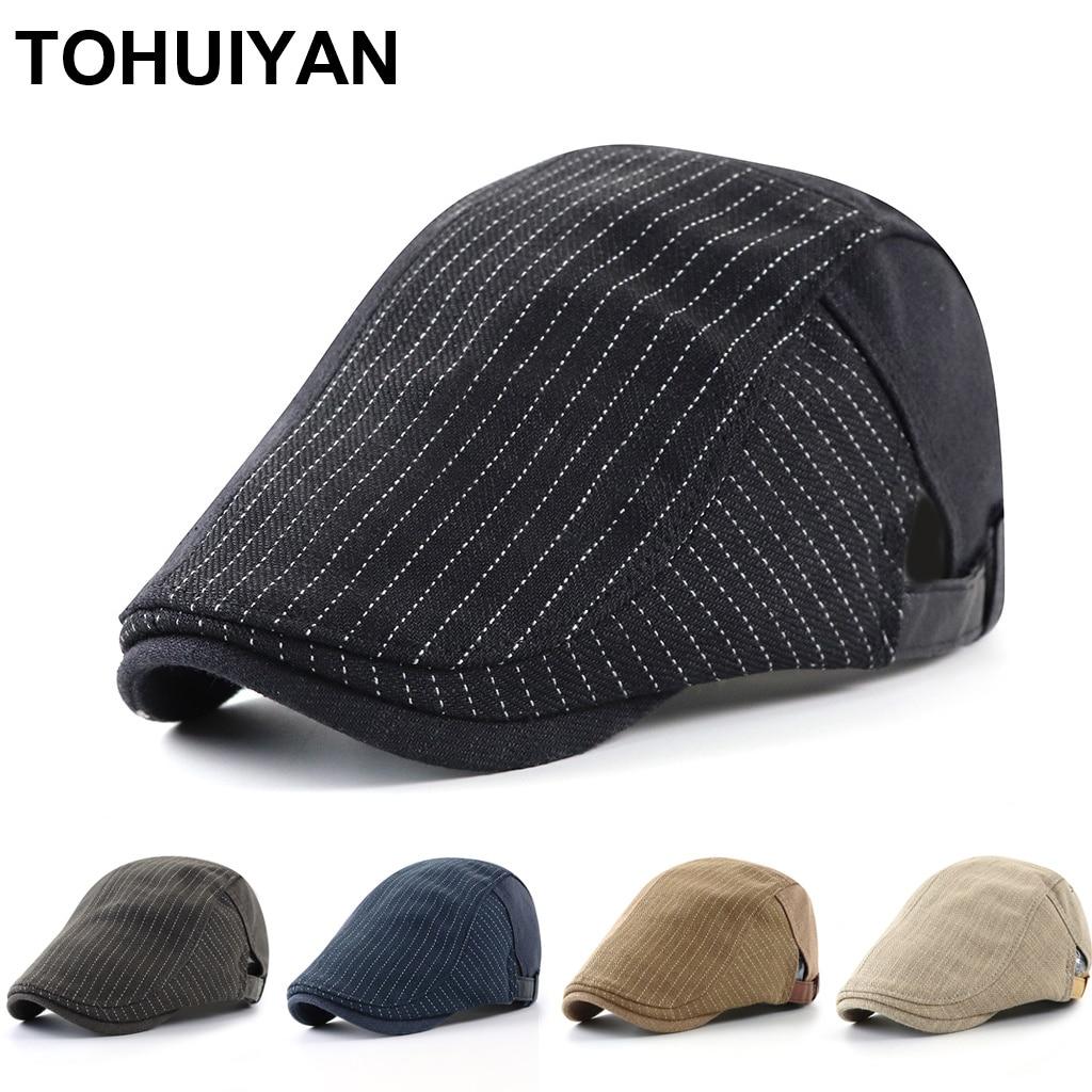 Hot Awesome Linen Newsboy Caps for Men Striped Driving Hats Winter Autumn Cap Women Adjustable Flat Hat Gorras Planas Ivy Hat