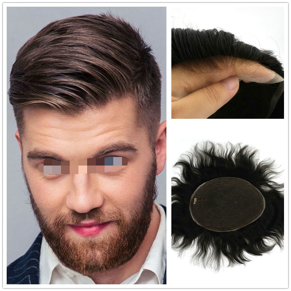 Hstonir Men Wig Toupee Swiss Lace Natural Remy Hair Replacement Systems Hairpiece H074
