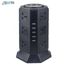 USB Power Strip Vertical 8/12 EU/UK/US/AU Electric Plug Universal Outlet Sockets Charger Surge Protector 6.6ft/2m Extension Cord