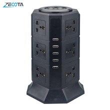 USB güç şeridi dikey 8/12 ab/İngiltere/abd/AU elektrik fişi evrensel çıkış prizleri şarj dalgalanma koruyucusu 6.6ft/2m uzatma kablosu
