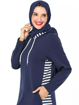 Dubai Arab Hooded Tracksuit Long Dress Women Muslim Stripe Sports Jogging Maxi Dress Walk Wear