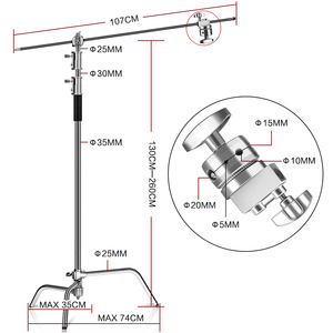 Image 2 - Metal Height 2.6M/8.5FT Adjustable Reflector Tripod Stand with Holding Arm 2pc Grip Head for Photography Studio Video Equipment