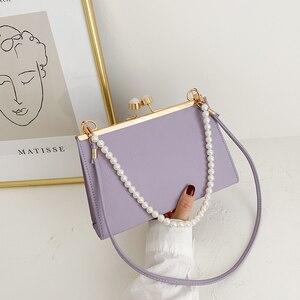 Fashion Chic Clip Women Shoulder Handbag Classic Texture Creative Design Pearl Tote Purse PU Solid Evening Clutch