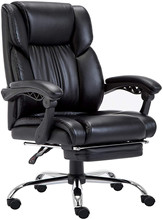 Executive Office Chair with Foldable Upholstered Footrest Ergonomic Computer Chair Adjustable and Reclining Backrest