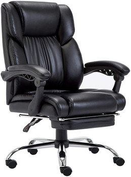 Executive Office Chair with Foldable Upholstered Footrest Ergonomic Computer Chair Adjustable and Reclining Backrest reclining office chair rocking computer chair thickened cushion 145degree lying adjustable bureaustoel ergonomisch sedie ufficio