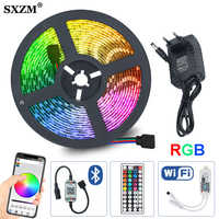 RGB LED strip 5m 10m 15m Waterproof led neon Flexible light 5050 DC12V 60 Leds/M tape WIFI Bluetooth IRRemote controller adapter