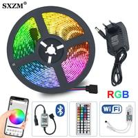 Tira LED RGB 5m 10m 15m LED de neon resistente al agua luz Flexible 5050 DC12V 60 Leds/M cinta WIFI Bluetooth IRRemote adaptador de controlador