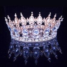 Barroco Vintage reina rey novia Tiara corona para las mujeres tocado Prom nupcial boda Tiaras y coronas accesorios de joyas para el pelo