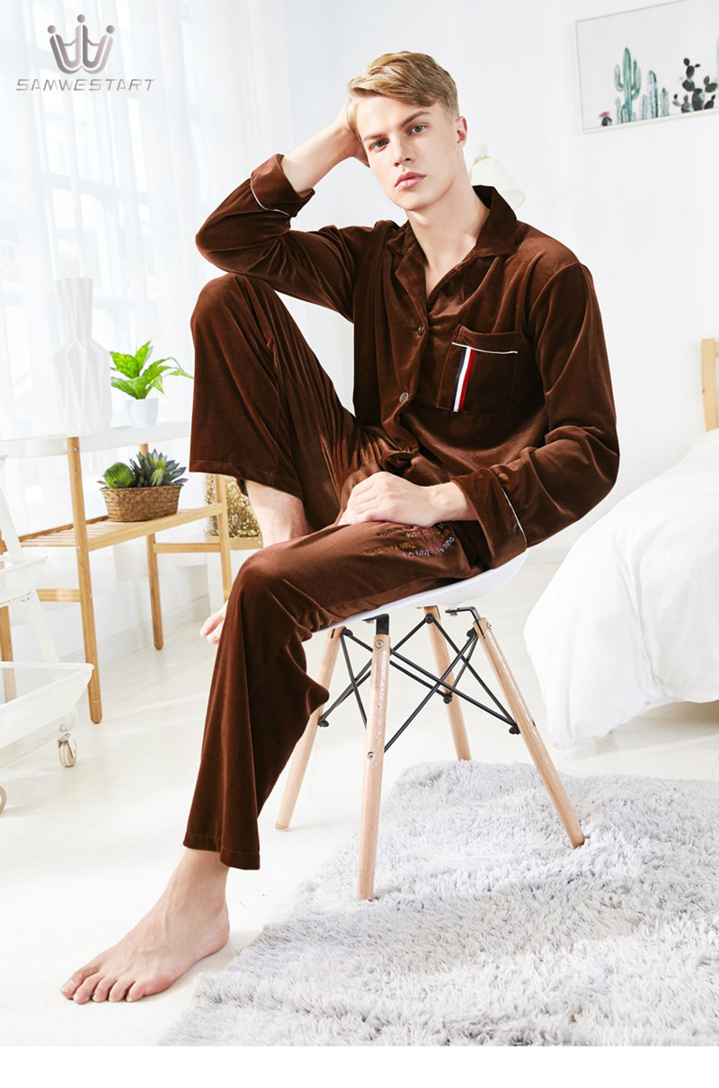 SAMWESTART Men's Stain Silk Pajama Sets Gold Velvet Winter Solid Color Men Pajamas Sleepwear Men Sexy Modern Style Nightgown