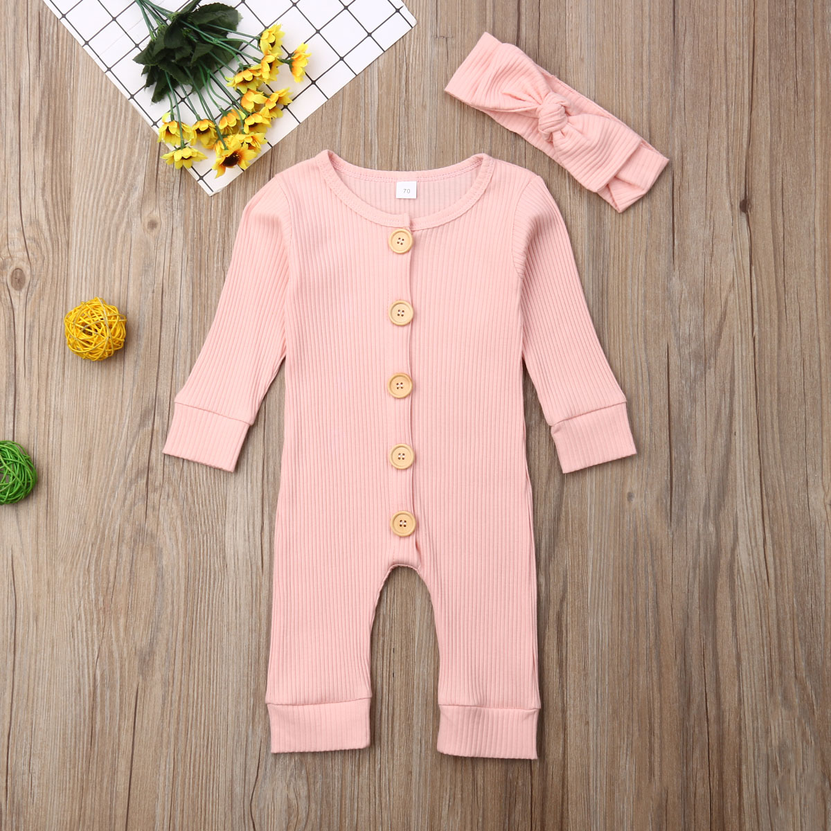 Spring Fall Newborn Baby Girl Boy Clothes Long Sleeve Knitted Romper + Headband Jumpsuit 2PCS Outfit 0-24M