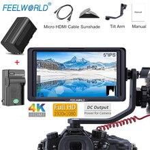 """FEELWORLD F5 """" DSLR камера полевой монитор 4K HDMI Full HD 1920x1080 ips видео Peaking Focus Assist с NP750 батарея+ зарядное устройство"""