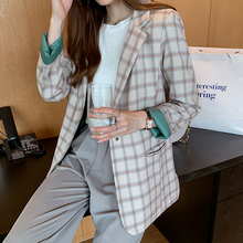 Plaid Vintage Ladies Blazer Green Long Sleeve Loose Suit Jacket Blazer Negro Mujer Korean Casual Spring Women's Clothing MM60NXZ