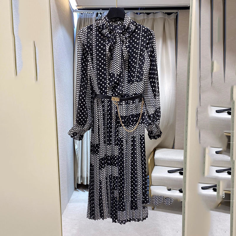 Design Fashion Dot Dress Women High Quality  Fancy Dress Spring Party Knee-Length Dresses For Ladies
