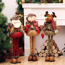 Christmas Dolls Santa Claus Snowman Big Size Retractable Toys Decoration for Home Xmas Tree Ornament Natal