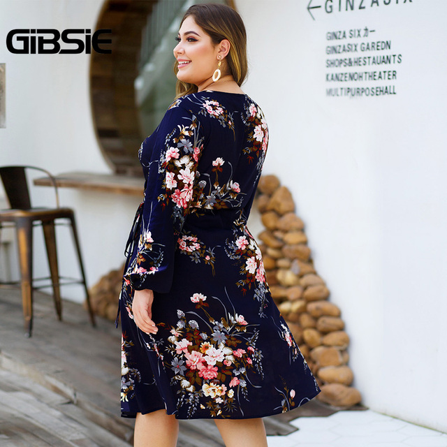 GIBSIE Plus Size Floral Print High Waist Dresses Women V-neck Long Sleeve Wrap Dress Autumn Casual A-Line Knee Length Dress 1