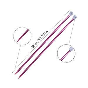 Image 2 - LMDZ 2 sztuk/zestaw 35cm szpiczaste z jednej strony druty do robienia na drutach prosto aluminium DIY narzędzie tkackie długi sweter szalik igły 2.0 12mm