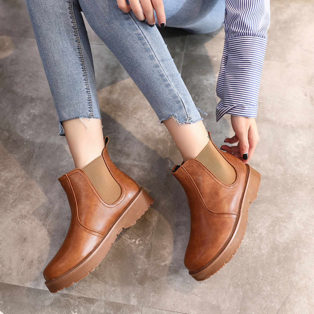 Martin Kurze Stiefel Frauen Leder Einfarbig Casual Flache Runde Kappe Europäischen Stil Herbst Winter Schuhe Frauen Botines Mujer 2019
