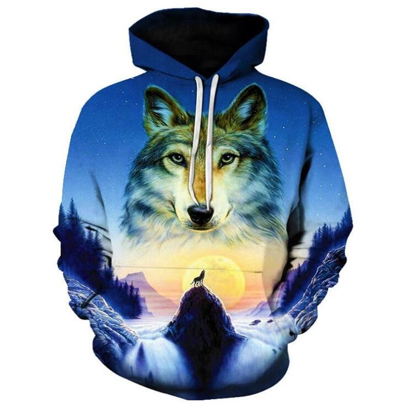 Mens Jacket Hoodie Unicorn Digital Print Long Sleeve Hooded Sweater Personality Mens and Womens Large Size Baseball Wear