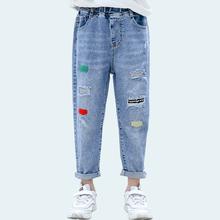 Dżinsy dla chłopca kolorowe dziurki chłopięce dżinsy dziecięce patchworkowe dżinsy dziecięce wiosenne ubrania dziecięce dla chłopców 6 8 10 12 14 rok tanie tanio Tryounger Na co dzień Pasuje prawda na wymiar weź swój normalny rozmiar H584662 Elastyczny pas Chłopcy Drukuj REGULAR