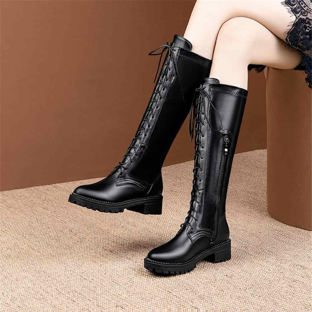 BONJOMARISA 2020 ฤดูใบไม้ผลิใหม่ 33-50 สุภาพสตรีสง่างามกว่าเข่ารองเท้าแฟชั่น LACE-up ต้นขาสูงรองเท้าผู้หญิง MED ส้นรองเท้าผู้หญิง
