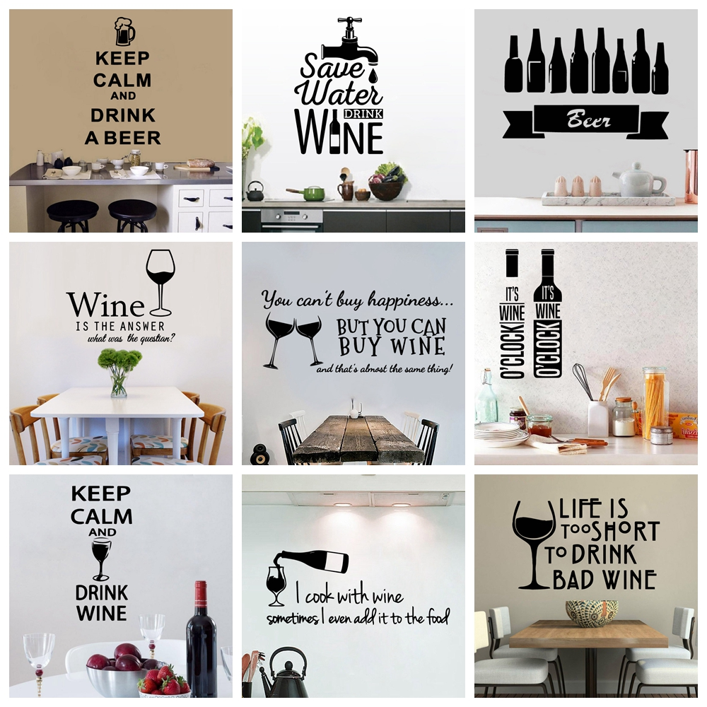 Classic Sentence Drink Beer Wine Keep Calm Quotes Removable Vinyl Wall Stickers For Kitchen Living Room Background Wall Decal