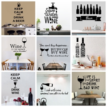 Classic Sentence Drink Beer Wine Keep Calm Quotes Removable Vinyl Wall Stickers For Kitchen Living Room Background Decal