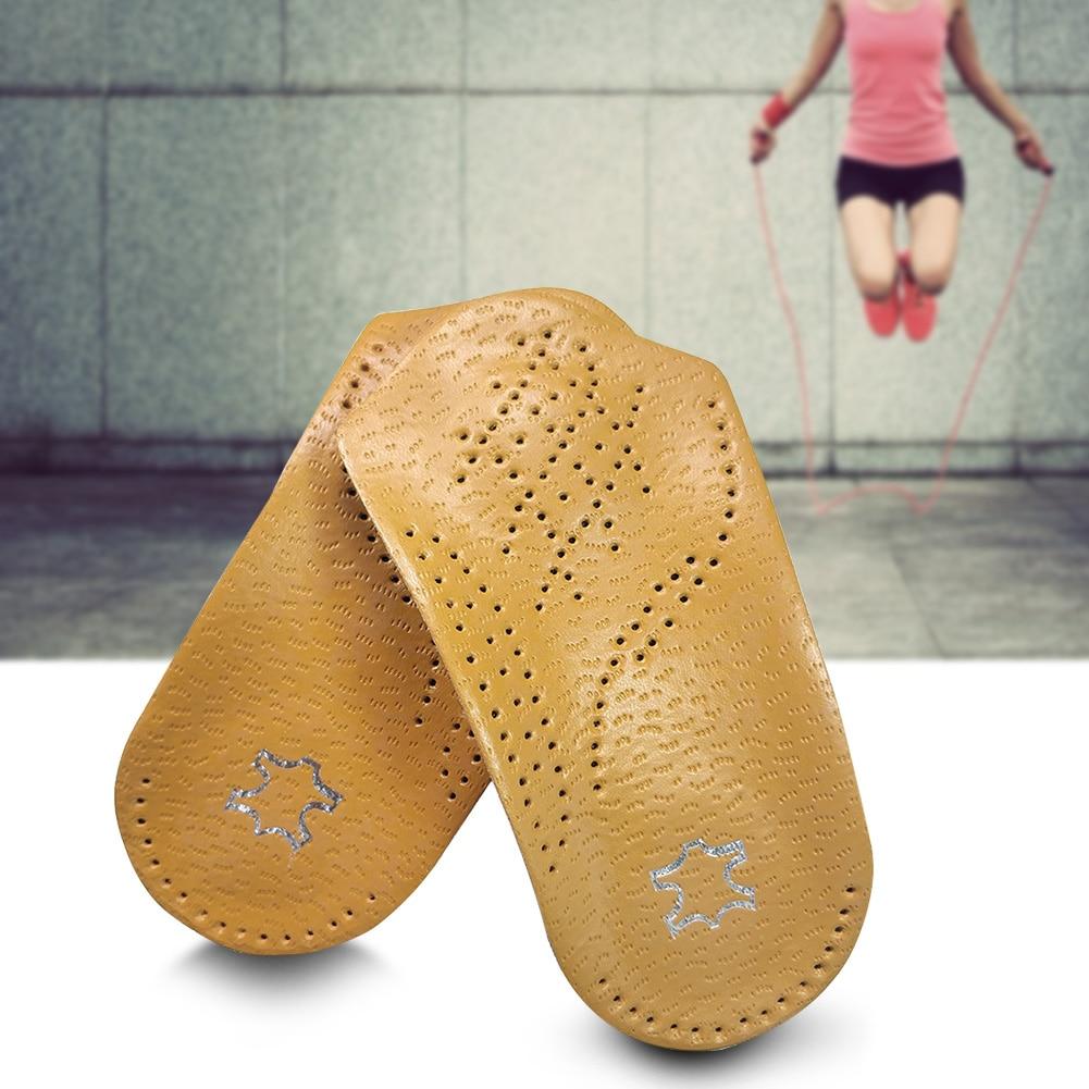 2PCS Orthotic Insoles Practical Flat Foot Heel Support Men Women Plantar Elastic Corrector 3/4 Length Artificial Leather