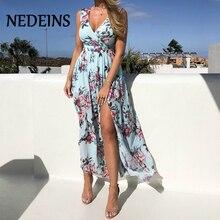 NEDEINS Women V Neck Split Dress Floral Print Long Summer Spaghetti Strap Party
