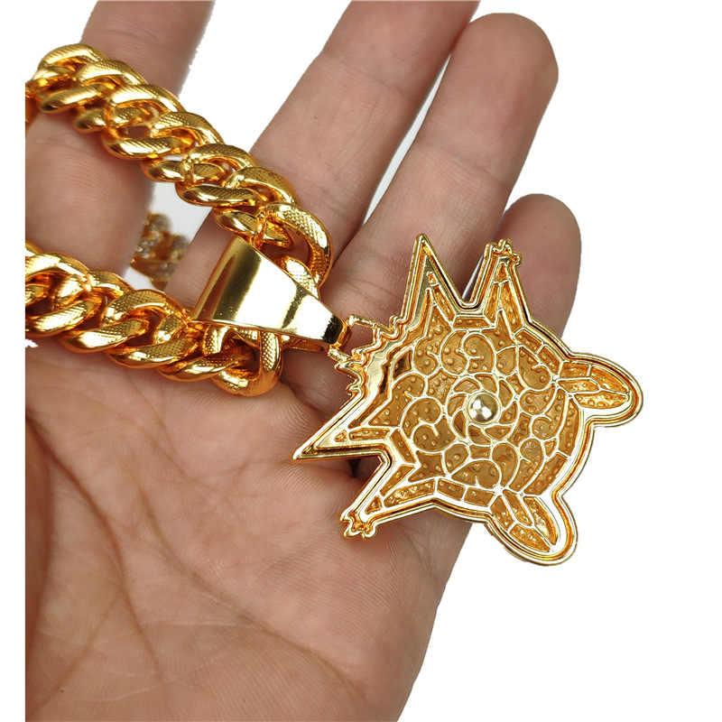 Iced Out fioletowy kryształ mały diabeł wisiorki pełny kryształ górski kubański naszyjnik łańcuch N331A