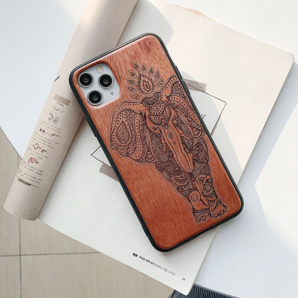 Natural Laser Carving Wooden Phone Case For iPhone 12 Pro Max 6