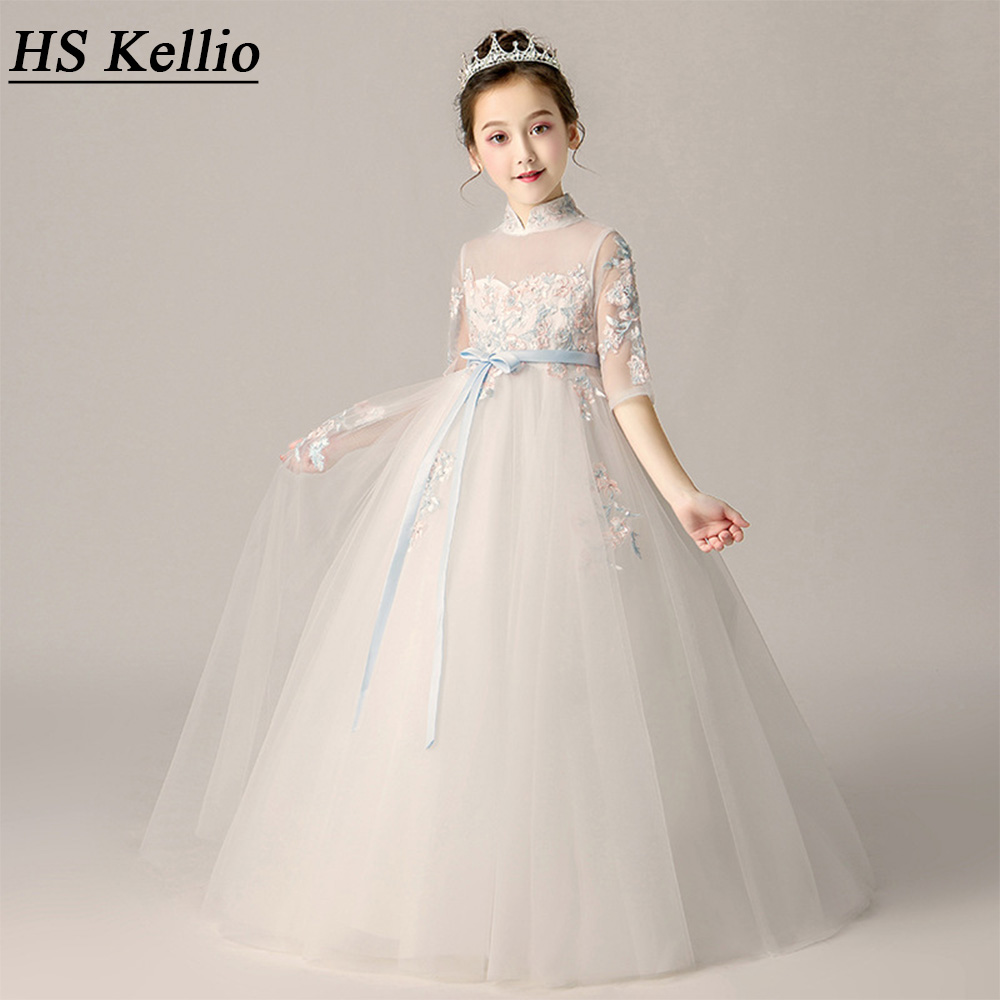 HS Kellio Flower Girl Dress Ivory Princess Ball Gown Performance Party Gown With Quarter Sleeves