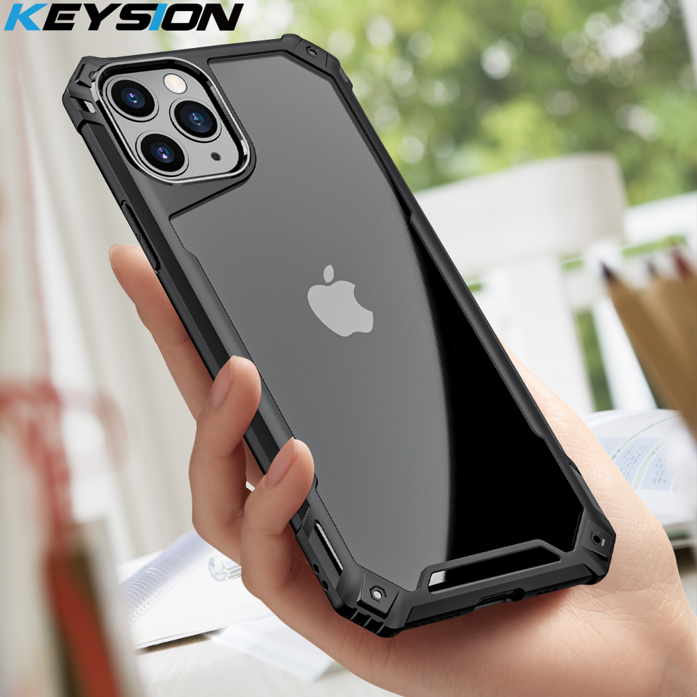 KEYSION Fashion Shockproof Case for iPhone SE 2020 11 Pro Max Transparent Phone Back Cover for Apple iPhone 8 6s 7 Plus X XS XR