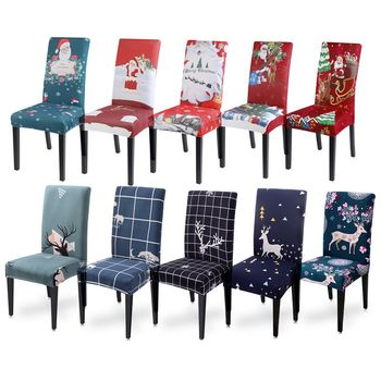1pcs Christmas Decor Chair Cover Removable Polyester Stretch Chair Covers Seat Slipcovers For Dining Room Christmas Banquet christmas chair covers elk print removable chair cover stretch elastic slipcovers dining banquet chair covers spandex home decor