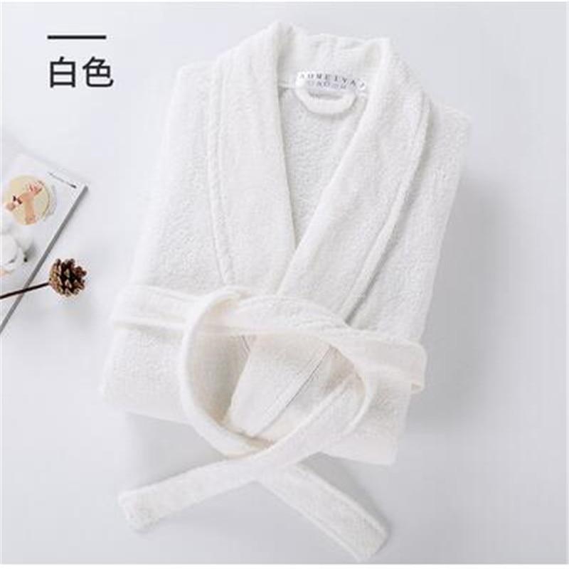 100% Cotton Terry Bathrobe Men Women Solid Towel Sleepwear Long Bath Robe Kimono Femme Dressing Gown Bridesmaid Robes