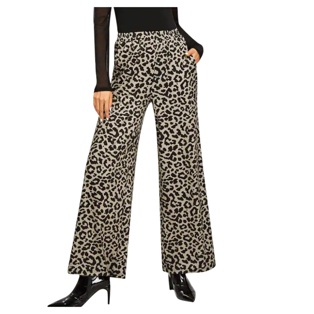 Womens High Waisted Leopard Casual Trousers Fall Wide Leg Pants Winter Warm Office Ladies Outwear elegant Ins Fashion Pants