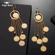 อัลลอฮ์เหรียญมุสลิมGOLD Dropต่างหูสำหรับผู้หญิงหญิงไนจีเรียตุรกีเครื่องประดับของขวัญพร้อมชิ้นพู่เหรียญจี้ต่างหู