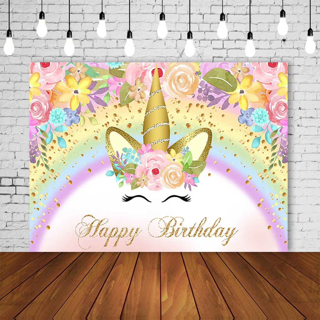 Photography Backdrop Pastel Rainbow Girl Unicorn Birthday Party Banner Princess Sweet Pony Decoration Floral photobooth Background Baby Shower Posters photocall Filming Dessert Table Mural Props
