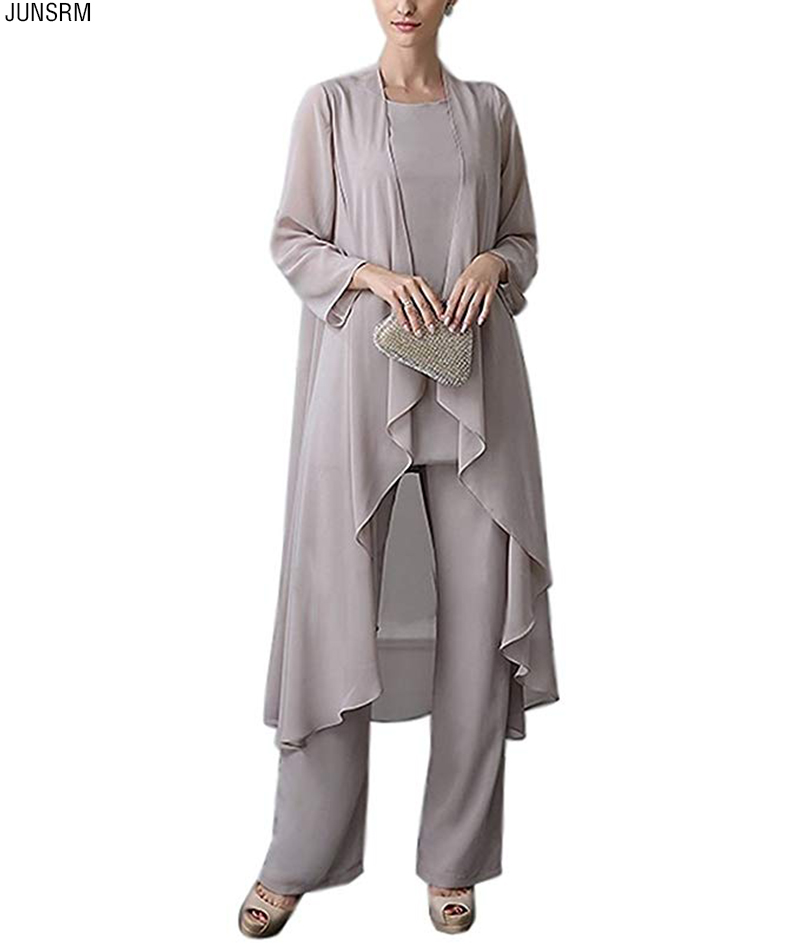 Women's 3 PC Chiffon Pants Suit Outfit Plus Size Dress Suit For Mother Of The Bride Evening Gowns