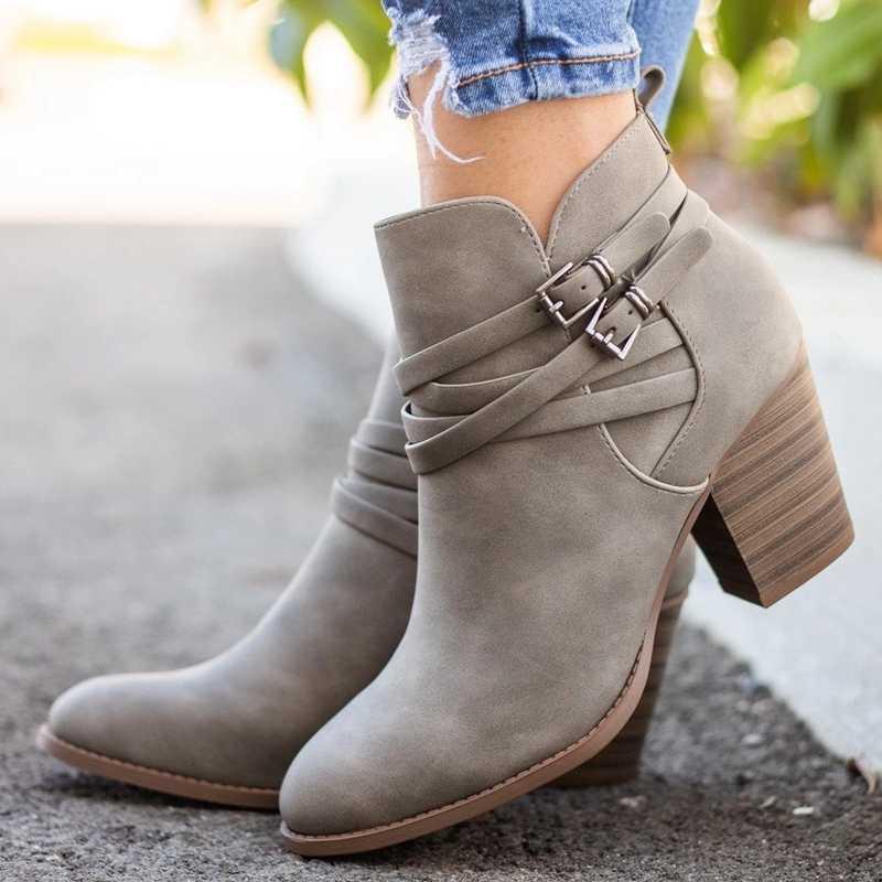 Botas Vintage con hebilla para mujer, zapatos de PU, botas cortas para mujer, tacones cuadrados, moda, punta estrecha, tobillo, todas las combinaciones transpirables
