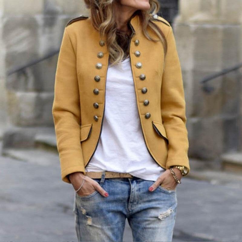 Fashion Women Blazers Short Coat 2019 Long Sleeve Jackets Solid Suits Button Coat Slim Office Lady Jacket Tops Blazer Feminino
