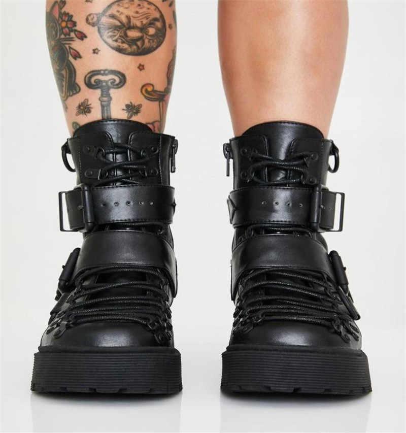 Patent deri Punk yeşil yüksek topuklu motosiklet botları kadın kış siyah kemer toka ayak bileği batı kovboy çizmeleri kadın artı boyutu