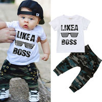 Одежда для маленьких мальчиков 2019 г. Летние топы в стиле хип-хоп с короткими рукавами и надписью для малышей, футболка камуфляжные штаны, ком...
