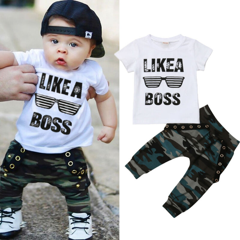 Baby Boys Clothes 2019 Hip Hop Short Sleeve Summer Toddler Infant Like A Boss Letter Tops T-shirt Camo Pants Outfits 2Pcs