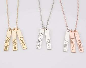 Personalized Vertical Bar Necklace, Baby Name Necklace for Mom, Coordinates Monogram