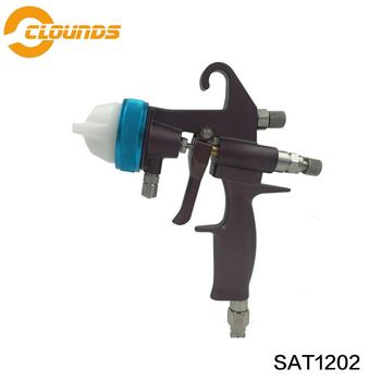 цена на SAT1202 high quality professional chocolate paint sprayer high pressure double nozzle paint spray gun hvlp
