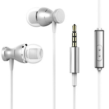 Metal Ear-in Earphones Magnetic Line Control with Mic Lightweight Universal Headset LHB99