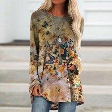Maglietta allentata a maniche lunghe da donna a maniche lunghe con stampa a farfalla femminile primavera autunno 2021