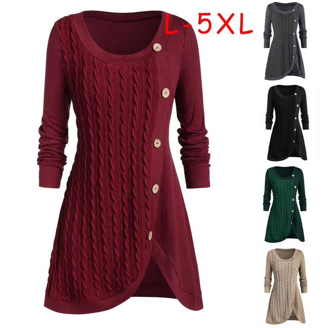 Plus Size Women Long Sweater O-neck Long Sleeve Solid Botton Pachwork Asymmetric Tops Sweater Knitted Sweater Dress Autumn
